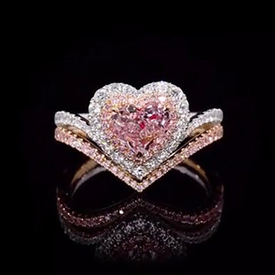 2.52 ct Heart Cut Fancy Light Brown Pink Sterling Silver Wedding Ring
