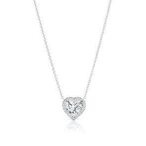 Forever-Love Heart Cut Lab-created White Sapphire Necklace in Sterling Silver