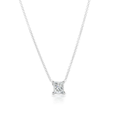Simple & Fashion Radiant Cut Lab-created White Sapphire Pendant Necklace in Sterling Silver