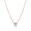 Simple & Fashion Round Cut Lab-created White Sapphire Rose Gold Necklace in 925 Sterling Silver