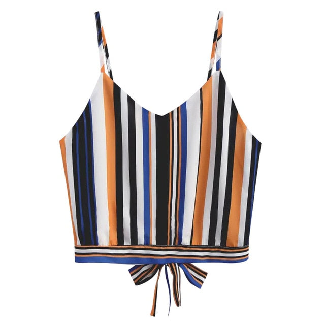6856f45d2c329 ... Feitong Sexy Women Crop Tops Striped Tie Back Cami Casual Spaghetti  Strap Bow Vest Knot Cropped ...