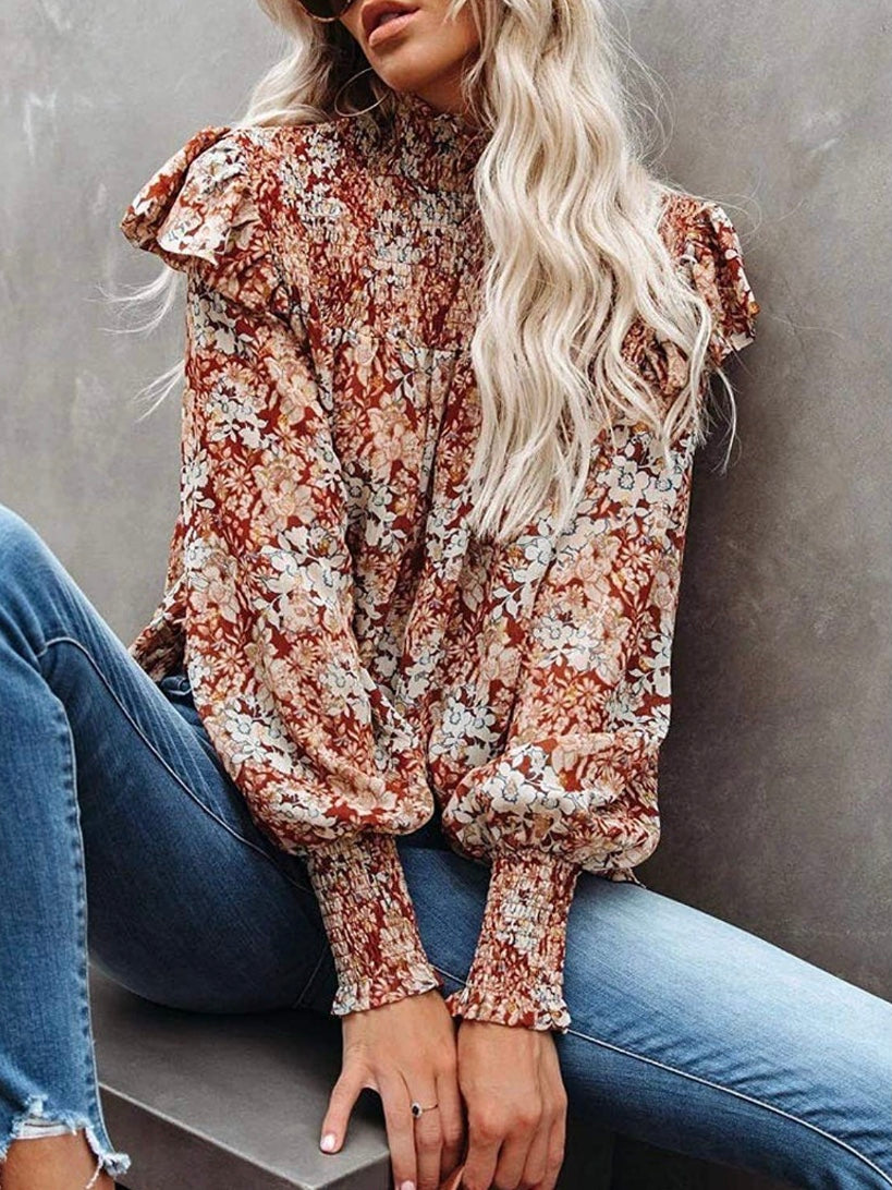 Flowers Print Ruffled Shoulders Top