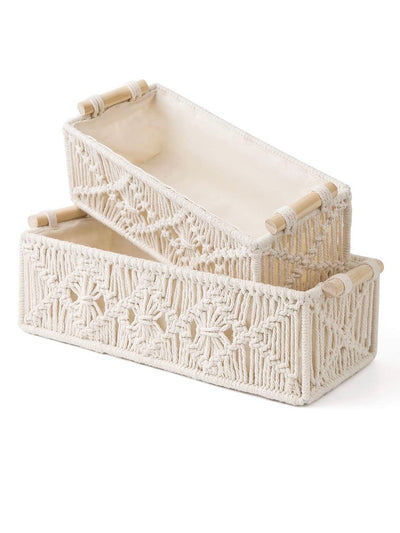 White Macrame Boxes. Set of 2