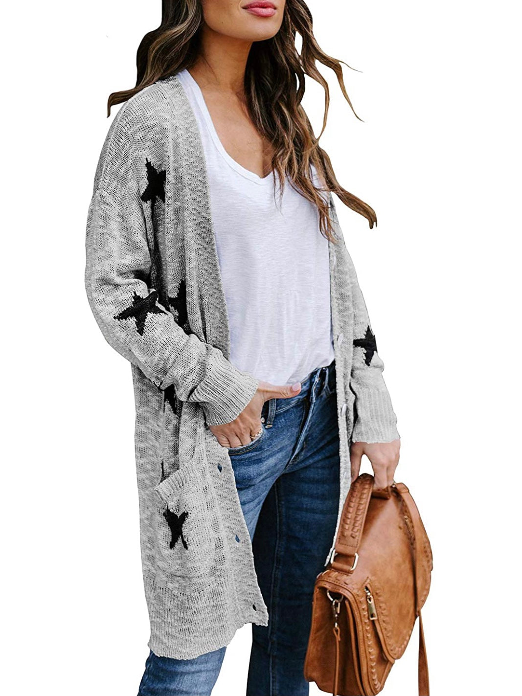 Stars Cardigan Gray Sweater