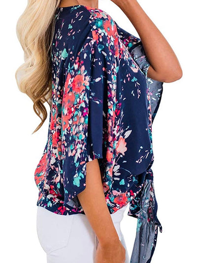 Navy Blue and Pink Flowers Top