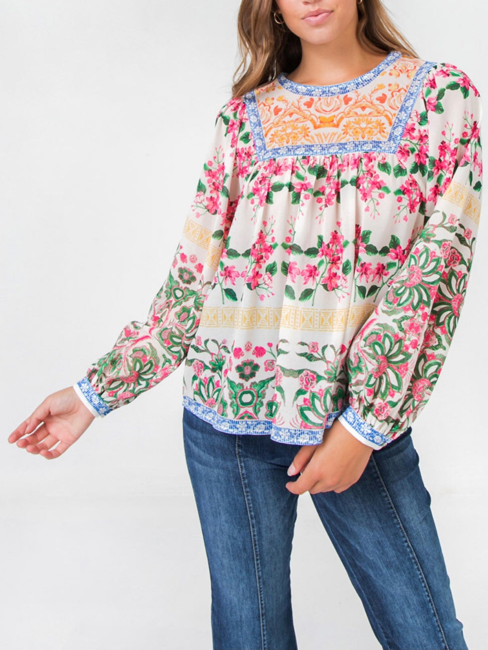 Flowers White Print Top