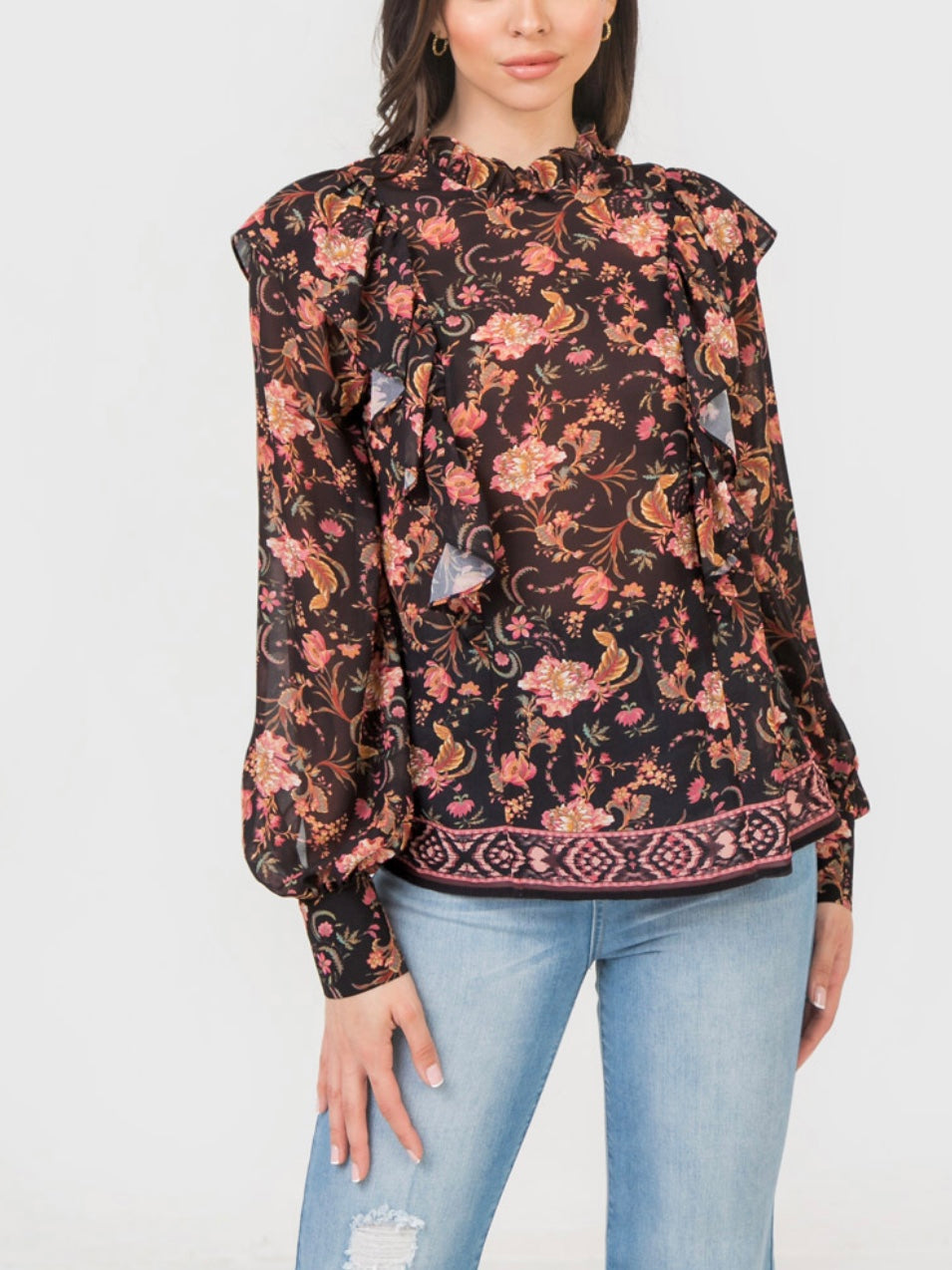 Flowers Black Print Top