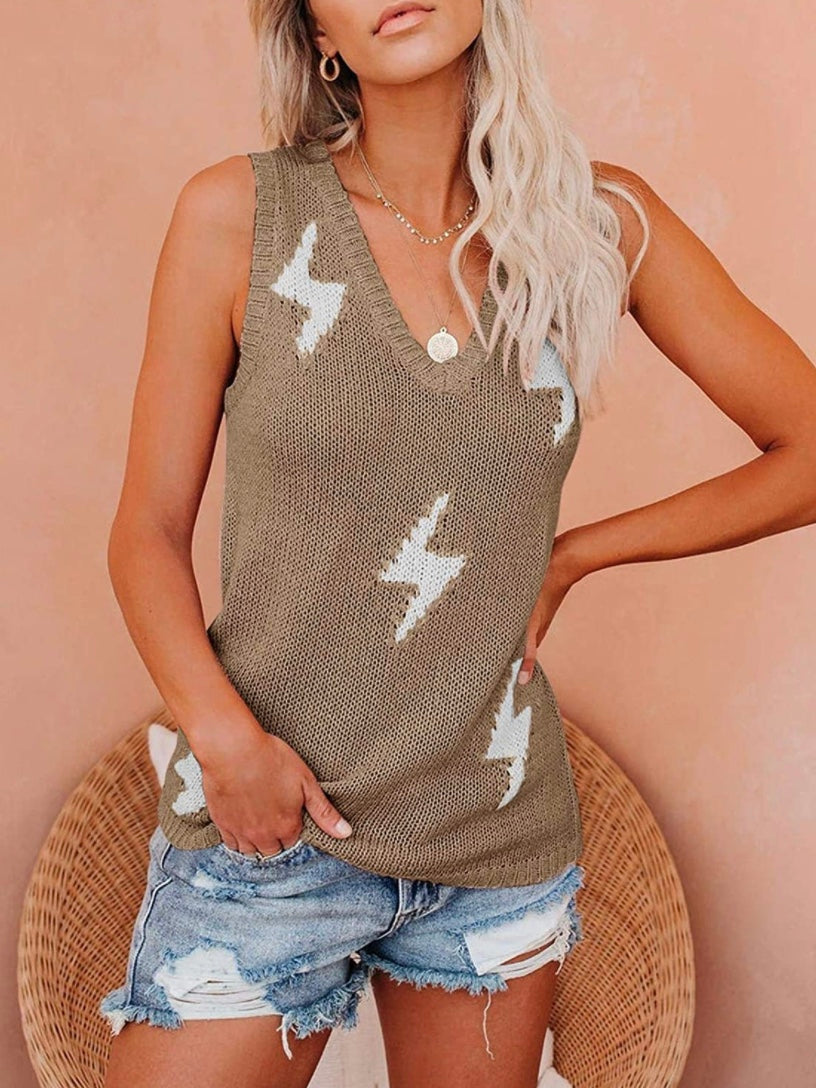 Lightning Beige Braided Tank