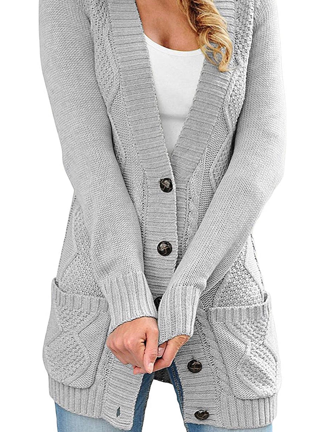 Gray Cardigan Sweater