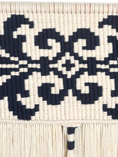 White and Black Macrame Wall Hanging