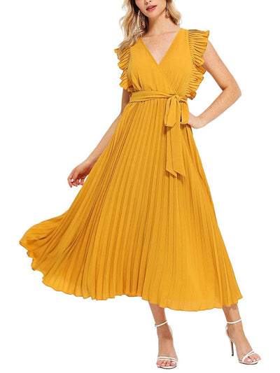 Yellow Pleaded Dress