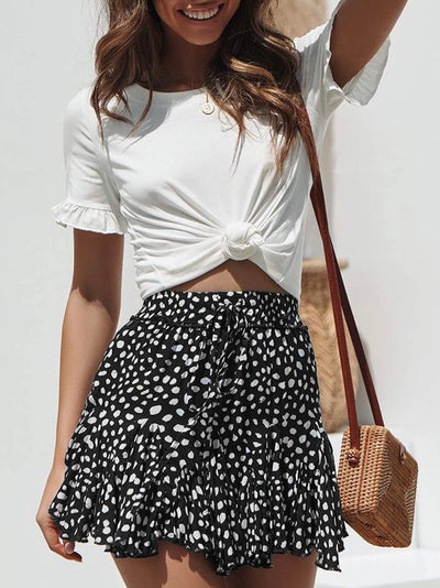 Dots Print Short Skirt