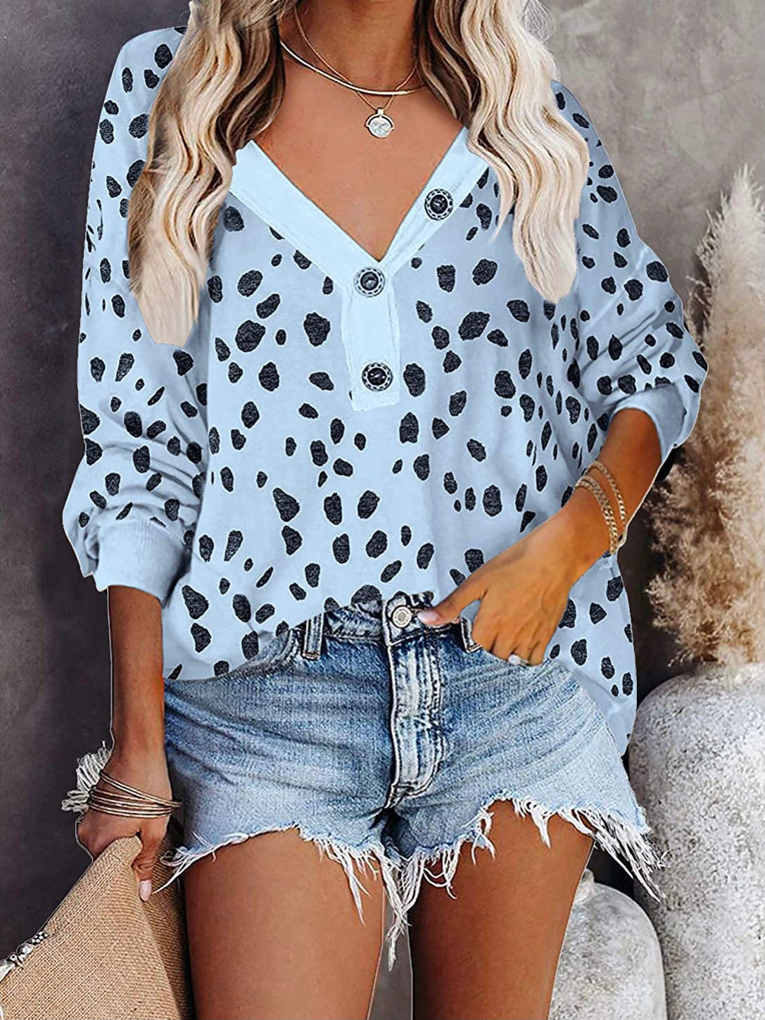 Light Blue Animal Print Top