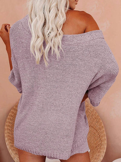 Set of 2 Off Shoulders Knit Top and Short