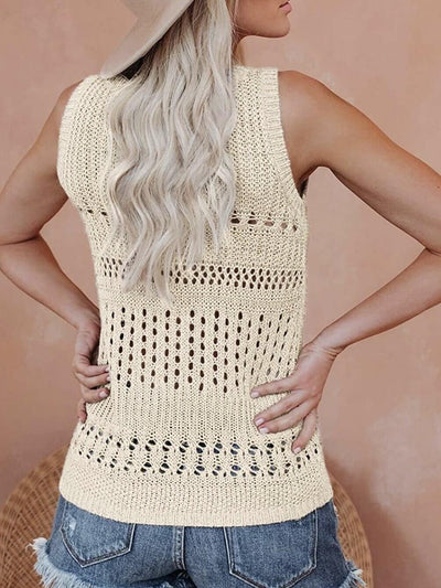 Boho style beige braided tank top back paired with short jean