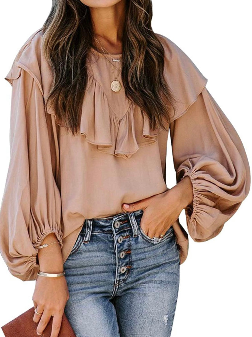Ruffled Balloon Sleeves Top