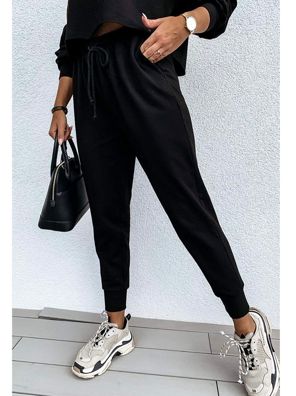 Set of 2 Sweatsuit Knit Top and Jogger