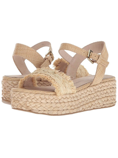 beige espadrilles with platform, with fringes, rubber sole and metal buckle closure