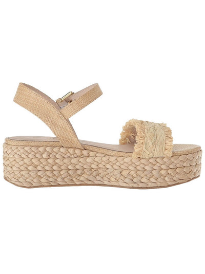 beige espadrilles with platform, with fringes, rubber sole