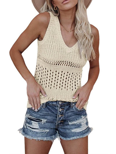 model shows beige tank top with v-neck combined with denim shorts