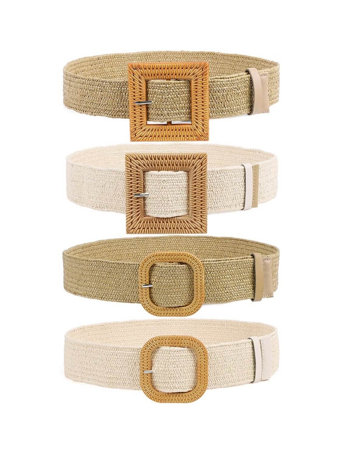 boho belts in colors and models Square Camel, Square Beige, Round Camel and Round Beige