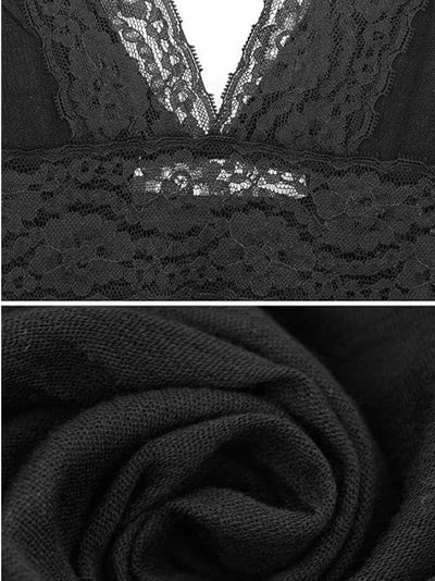 fabric and lace detail of casual long black dress