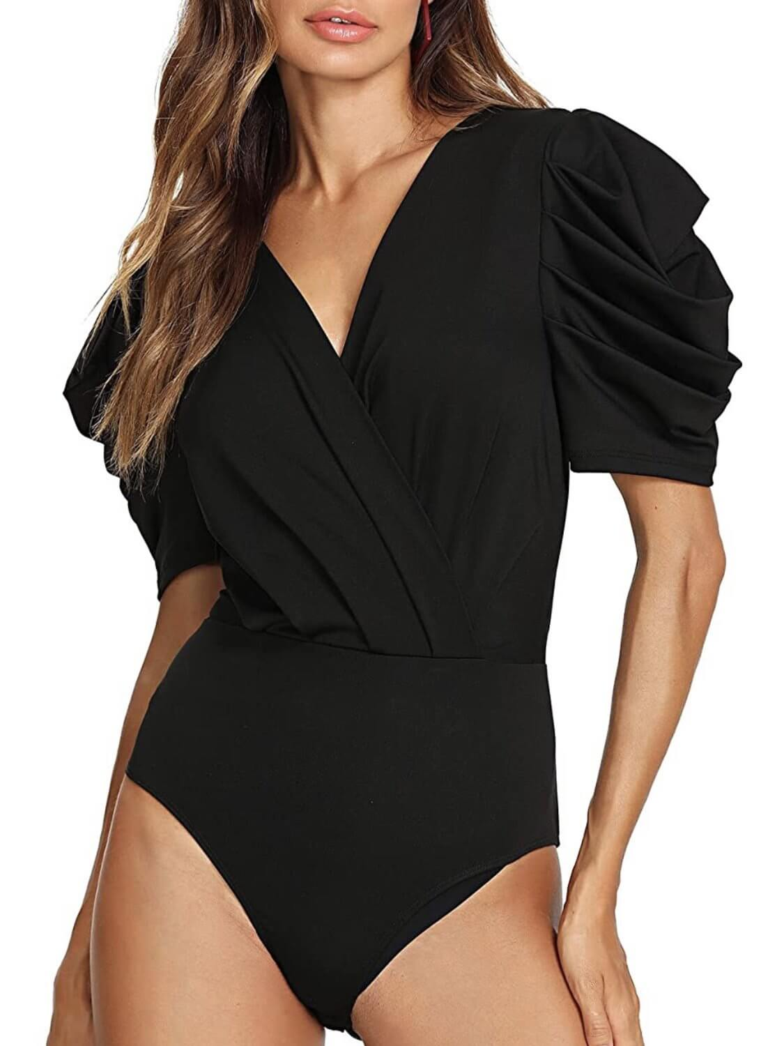 black bodysuit with V-neck, short sleeves, loose fit