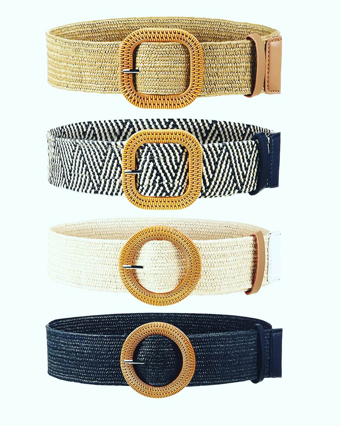 boho belts colors Camel, Black, Beigs, Black with Beigs