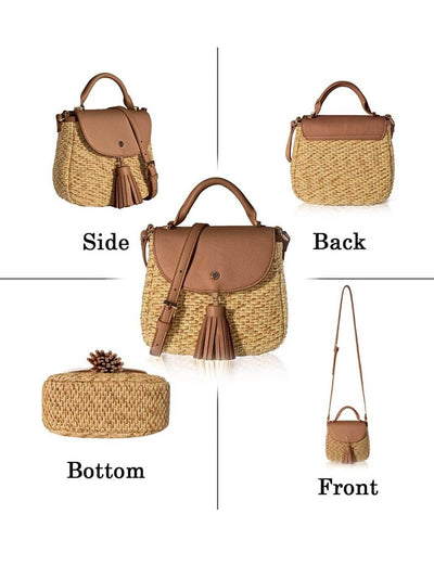 front, back and bottom of camel natural fiber shell boho bag with tassel detail
