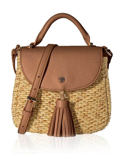 Camel color natural fiber shell casual boho bag with tassel detail