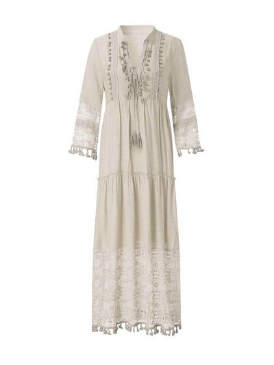 white boho dress, mandarin collar, V-neck, long sleeves, drawstring front and tassel details