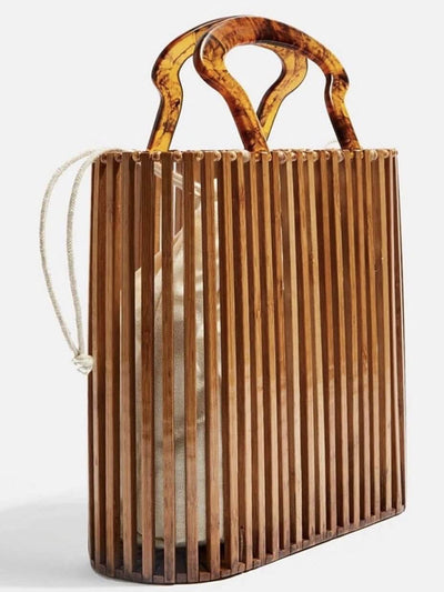 Side of boho wooden bag and handle, it has an inner bag and cord, made of natural fiber shell