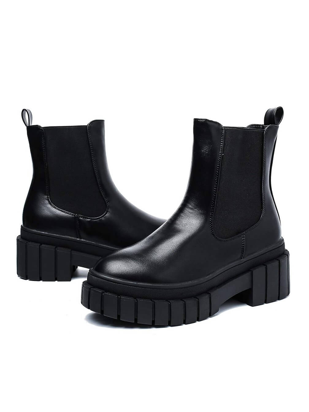 "Black chunky platform rocker boots, 3 ""heel, imitation leather and ankle height."