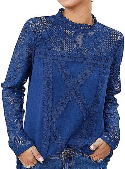 model wears blue long-sleeved shirt, in lace fabric and round neck