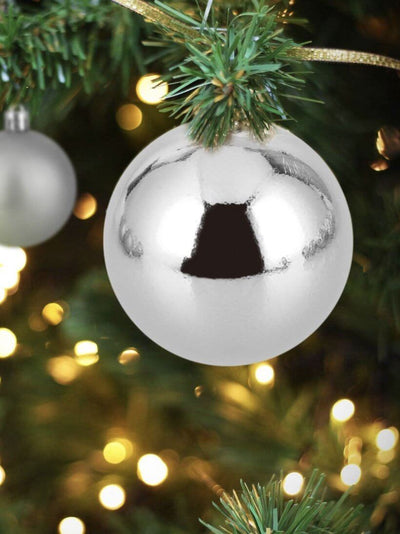ball-shaped Christmas decorations in silver