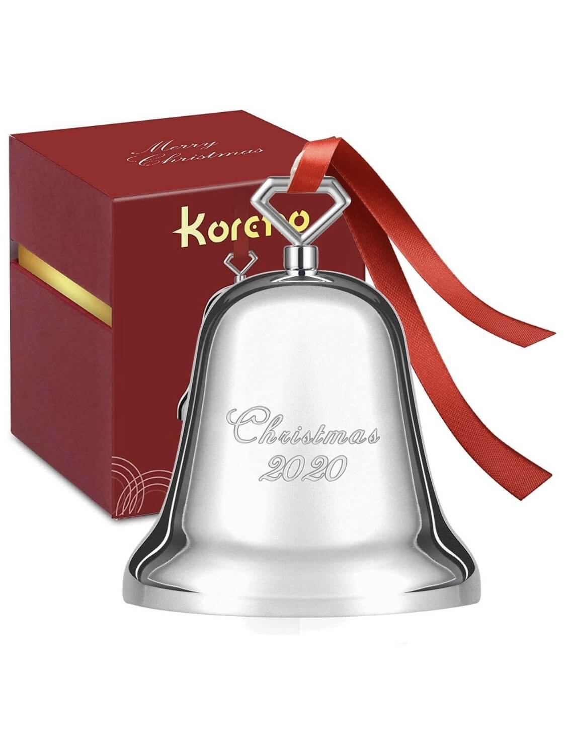 Light nickel-plated solid metal Christmas bell.