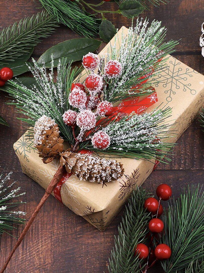 artificial pine cones to decorate christmas gifts