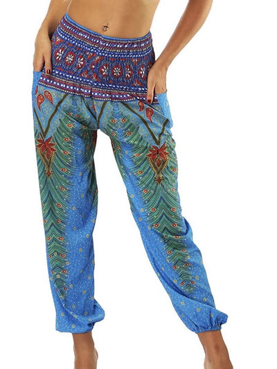 Bohemian jogger with elastic waist and ankles as well as side pockets