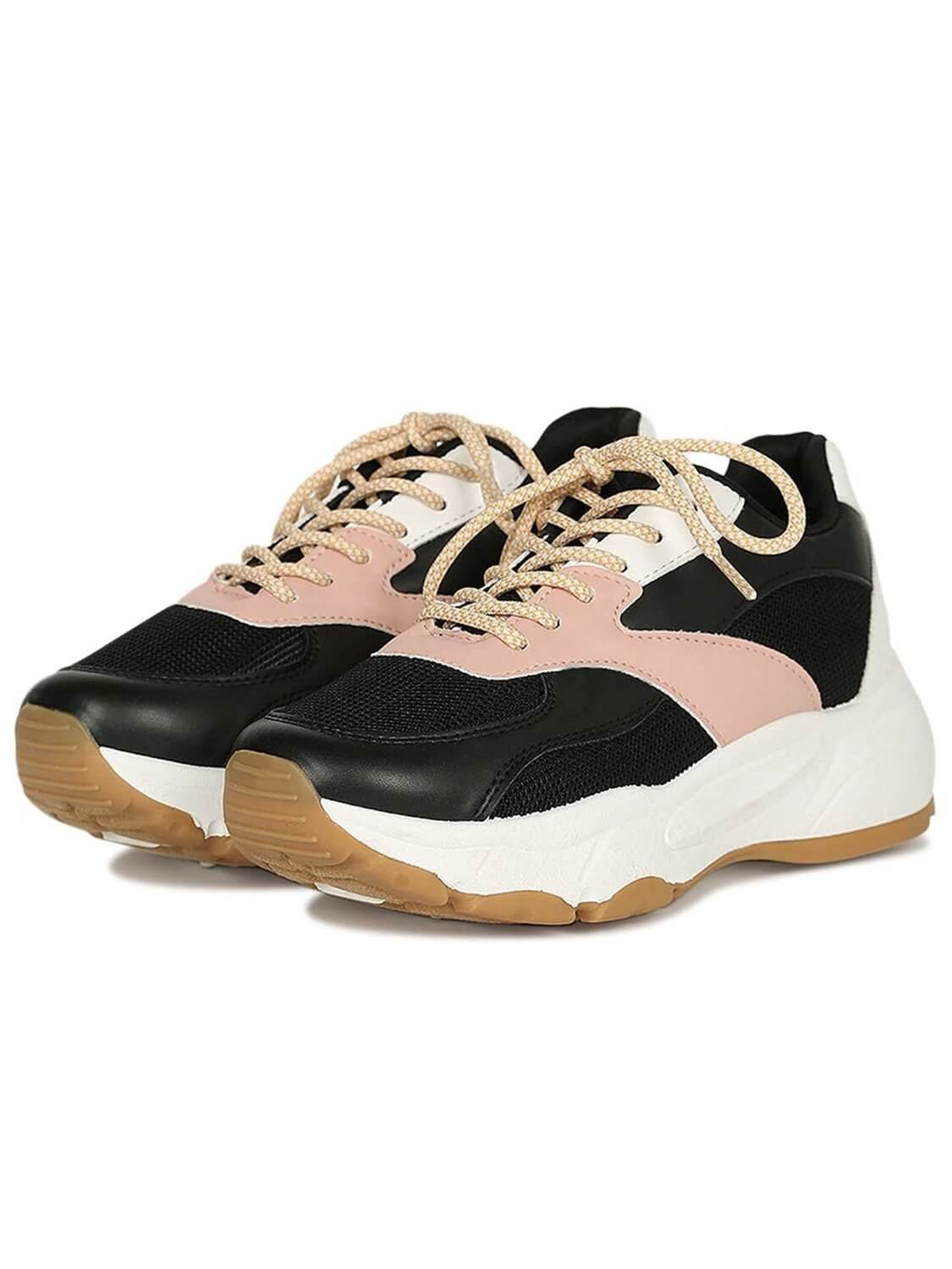 platform sneakers in black, pink and white, casual style, rubber sole, platform, laces and made of leatherette.