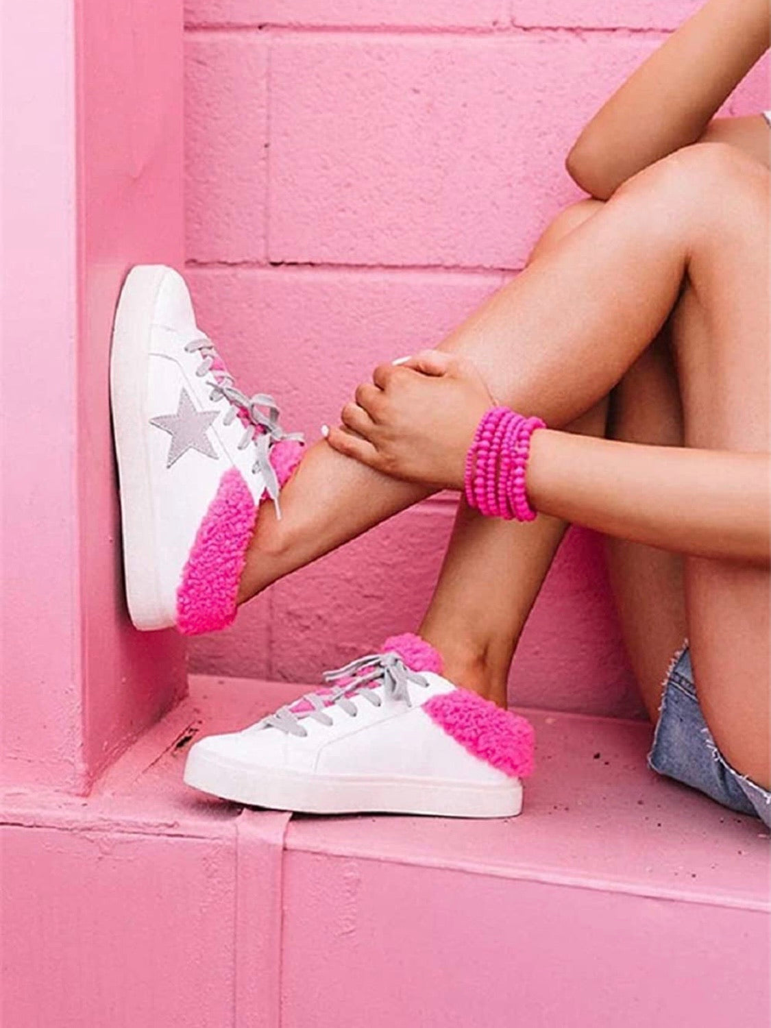 Pink Star White Sneakers