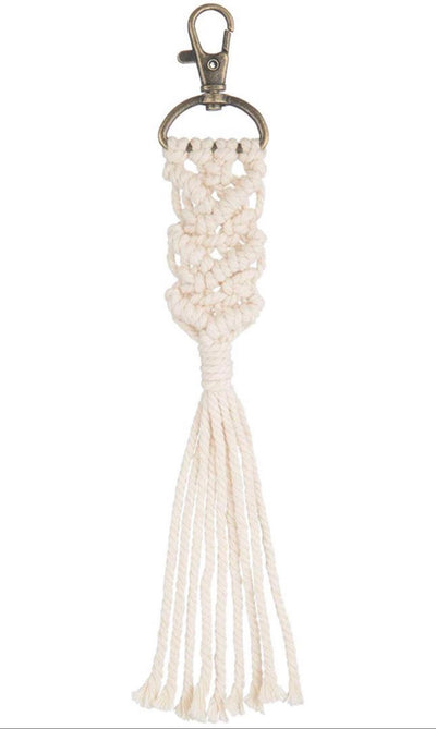 White Macrame Key chain