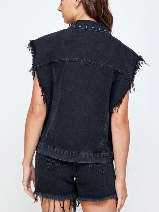 STUDDED OVERSIZED DENIM VEST