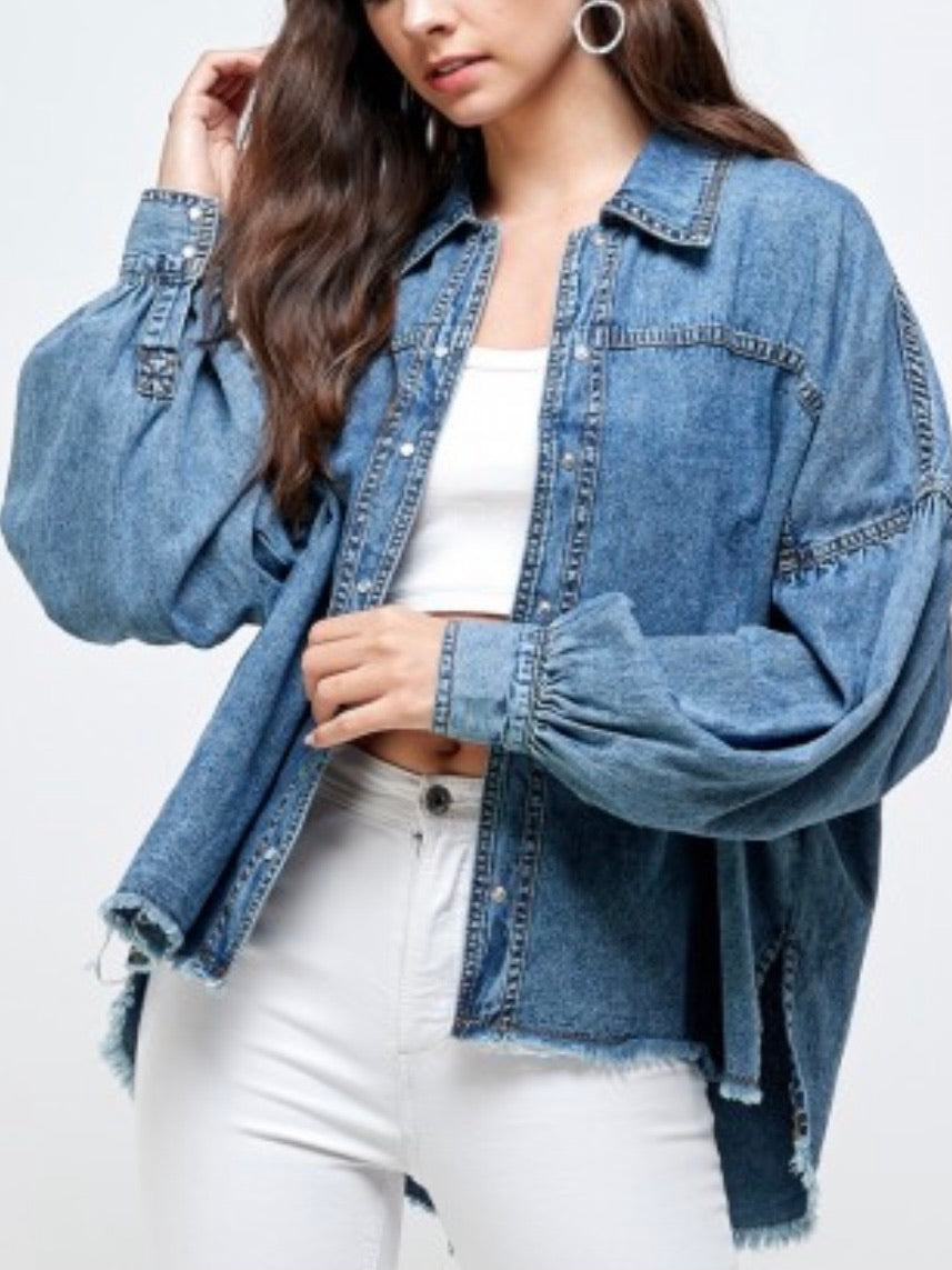Denim frayed hem top