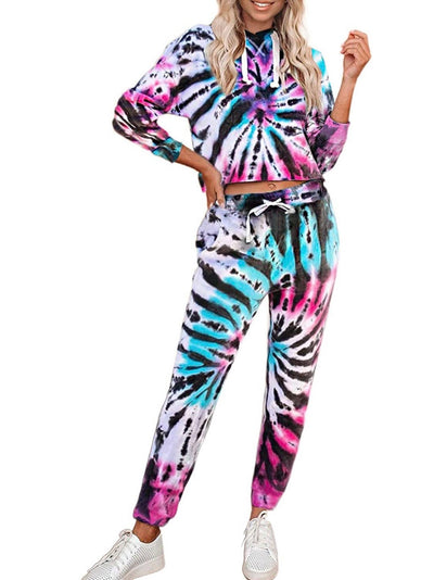 Set of 2 Tie dye Sweatsuit Knit Top and Jogger