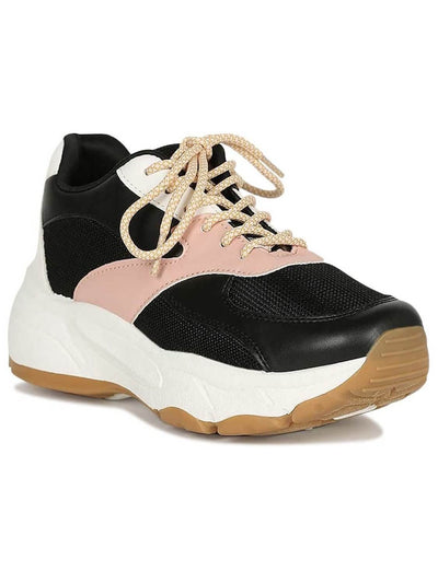 black, pink and white sneaker, with platform, rubber sole, laces and made of leatherette.