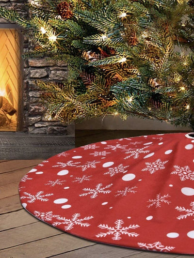 skirt to decorate Christmas tree with snowflake prints
