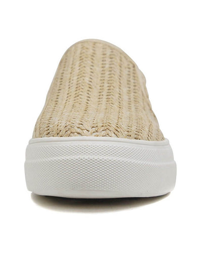 beige slip-on front and white rubber sole