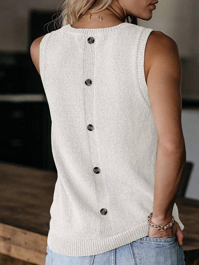 model shows back of beige tank top, round neck, loose fit and button detail at back