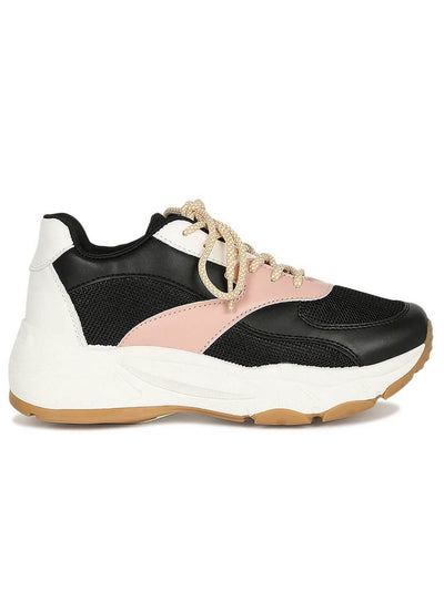 Side sneaker in black, pink and white, with platform, rubber sole, laces and made of leatherette.