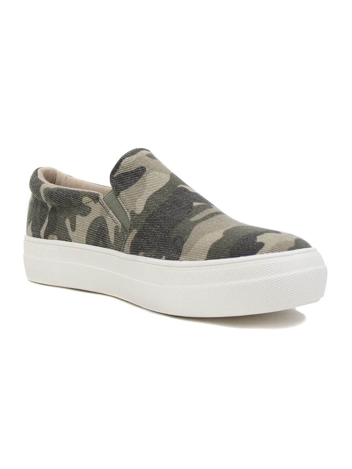 "Camouflage slip-on sneakers with rubber sole and 1.5 ""high heel"